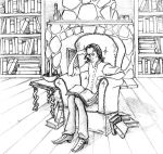 Disgruntled Snape in his study by FizzingWhizbees