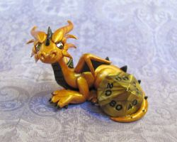 Golden Dice Dragon by DragonsAndBeasties