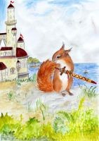 squirrel and a sword by Greenpoodle