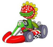 petey piranha in mario kart by minimariodrawer