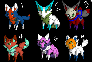 Cheap 6 fox adopts! only 3 left! by OC-Handout