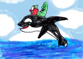 Bob and Larry on Shamu by SonicClone