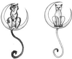 Cat in moon tattoos by Kaaji13