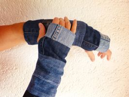 Fingerless Gloves / Jeans Patchwork Armwarmer by ajnataya
