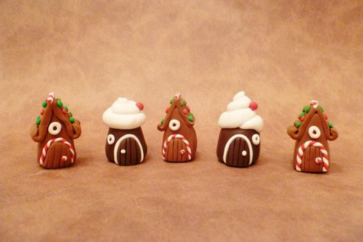 Miniature Holiday Fairy Houses set by FlyingFrogCreations