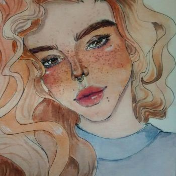 Freckled lady  by OutworldSemblance