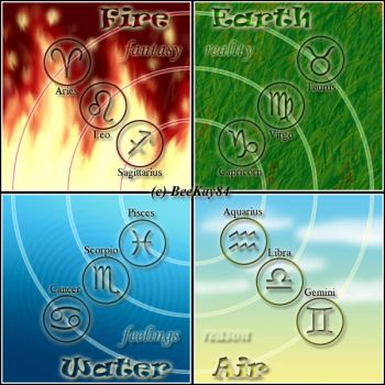 The 4 Elements of the Zodiac by beekay84