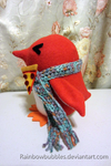 Gift art- Red Penguin with pizza brooch by Rainbowbubbles
