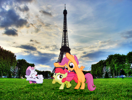 Ponies at the Eiffel Tower by Darkkon13