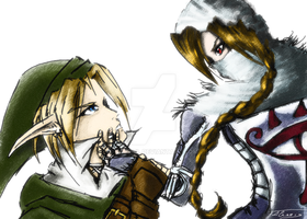 Link and Sheik by Radriel
