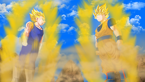 Goku vs Majin Vegeta by HayabusaSnake
