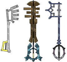 The Three Strife Keyblades by Sakeretsu