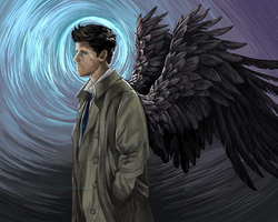 Don't step on that fish, Castiel by Silkkat