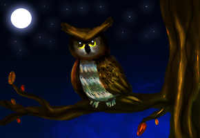 great horned owl art trade by Jahpan