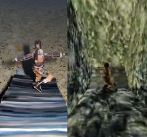Tomb Raider II papercraft scene vs. original scene by ValhallaAsgard