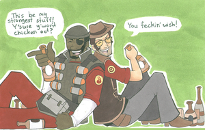 TF2: Drinkin' Buddies by MandyPandaa