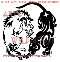 Wolf And Panther Kanji Tattoo by WildSpiritWolf