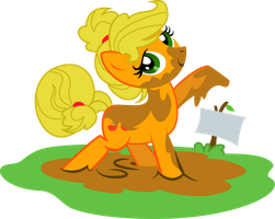 Applejack in the mud by KennyKlent