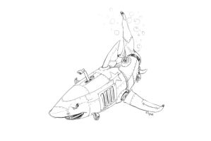 Shark submarine - Seven days drawing challenge by elykk