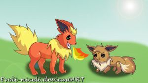Flareon and the poor Eevee by Evoli-niceli