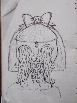 Original Face with Hair for Eyes concept sketch. by MotherLickerr