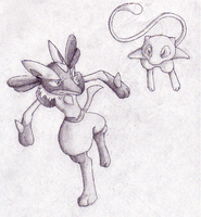 Lucario and Mew Pencil Sketch by CosmicSprinkles