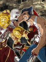 Kratos VS Wolverine by cybercortex