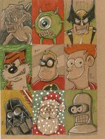 Cardboard Sketch Cards by johnnyism