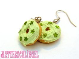 Green Donuts Earrings by Metterschlingel
