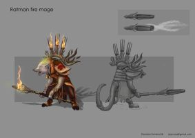 Ratman fire mage concept design by Azzy-Cola