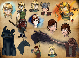 HTTYD Sketchdump by Golden-Trio