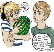 Pewdie and melon by Ellumon
