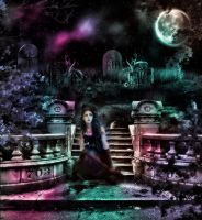 Ashen Cemetery (UNDER THE MOON) by L-A-Addams-Art