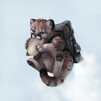 A fat cougar cub with a sandwich and a rocket pack by LadyAway