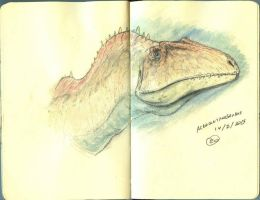 Acrocanthosaurus in Watercolor by maniraptora