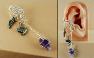 Silver, Amethyst, Angel Wing and Dove Ear Cuff by sylva