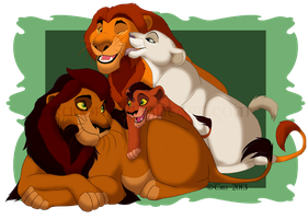 Family Portrait Series-Ahadi and Uru by EirasFanart