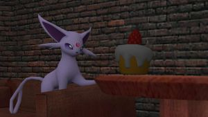 Espeon and the Cupcake by Shaymin303