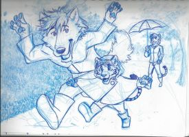 Ronnie, Devon and Baby: Splashing Puddles (sketch) by RuntyTiger