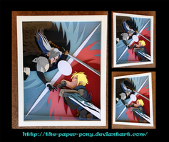 Final Fantasy 7: Cloud vs Sephiroth Shadowbox by The-Paper-Pony