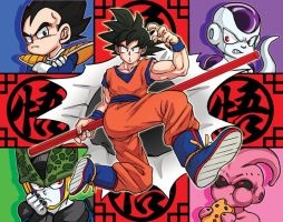 Goku and villain quartet by oume12