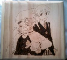Soul and Maka woodburning by CopperMoon