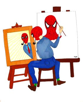 Norman Rockwell meets Spider-Man by SophlyLaughing