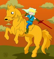 Finn-Link riding Jake-pona by Kairu-Hakubi