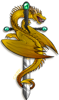 Golden Sword Dragon by Lucieniibi