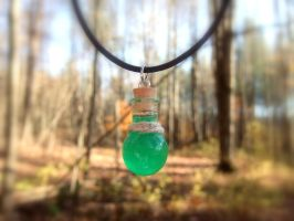 Green Stamina Potion Glass Vial Bottle Necklace by Euphyley