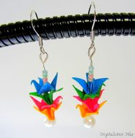 Rainbow Origami Crane Earrings by CrystallizedJello