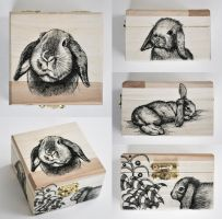 Bunny wooden box by ElaRaczyk