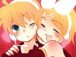 Rin and Len - Hug by 6dragonfly9