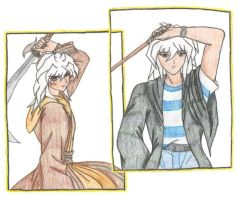 Bakura and Ryou Bakura by SkylaDoragono